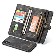 iPhone 6/6s Wallet Case,Multi-function 2 in 1 Detachable Zipper Design Magnetic Buttons Genuine Leather Folio Flip Cover with Card Slots(Black)