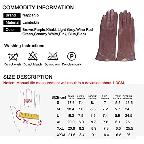 Nappaglo Nappa Leather Gloves Warm Lining Winter Handmade Curve Imported Leather Lambskin Gloves for Women (XL, Black) by Nappaglo (Image #4)
