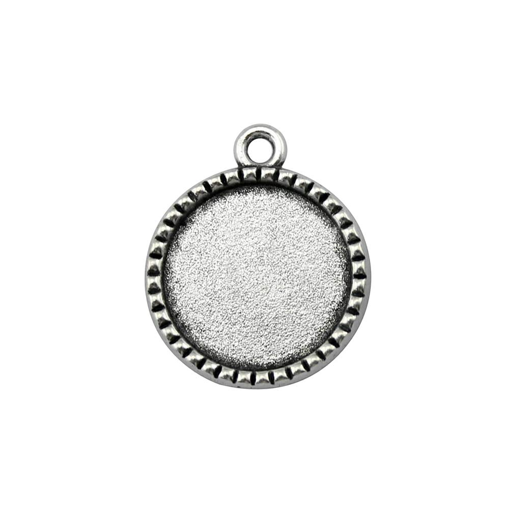 WYSIWYG 25 Pieces Cabochon Cameo Base Tray Bezel Blank Jewelry Making Supplies Crown Background Single Side One Hanging Inner Size 18mm Round Necklace Pendant Setting