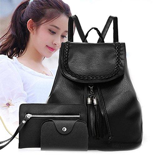 Leegor Teenager Girl Backpacks 3 Sets Shoulder Bag Waterproof Leather Travel Bag