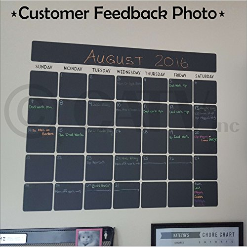 "Chalkboard vinyl calendar with black vinyl days of the week (23.5""W x 20.5""H)"
