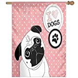 HUANGLING I Love Dogs With A Paw Print Emblem Pug With Tilted Head Cute Fun Animal Print Decorative Home Flag Garden Flag Demonstrations Flag Family Party Flag Match Flag 27''x37''