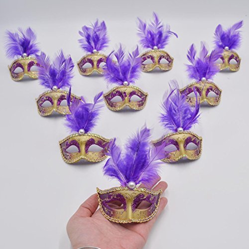 [Yiseng 12pcs Luxury Feather Mini Masks Hand Drawing Venetian Masquerade Party Decoration Novelty Gifts Purple] (Purple Feather Mask)