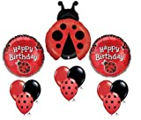 Ladybug Happy Birthday Balloon Bouquet Set Party Red Black Mylar Latex Lady Bug