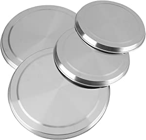 """Stainless Steel Burner Covers, 4Pcs/Set Round Stove Top Burner Covers Silver Cooker Pan Kitchen Protection, Small/Large - 6.7"""" & 8.3"""""""