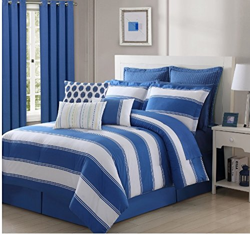 4 Piece Vibrant Stripe Pattern Comforter Set King Size, Featuring Reversible Solid Nautical Coastal Inspired Design Bedding, Stylish Contemporary Fun Playful Boys Girls Bedroom Decor, Lapis, (Contemporary Coastal Stripe)