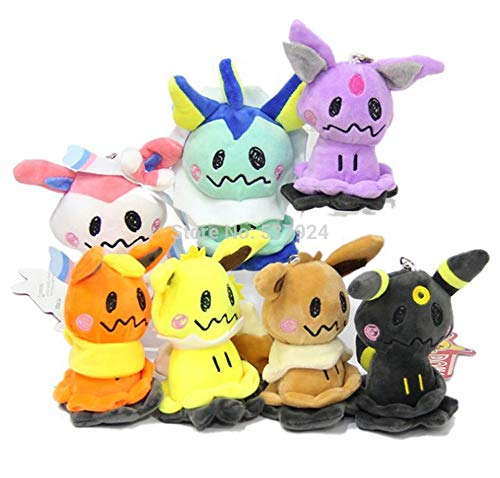 VIETCJ New 7Pcs Sylveon Eevee Umbreon Flareon Vaporeon Jolteon Espeon Cosplay Mimikyu 4