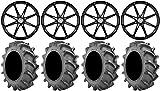 Bundle - 9 Items: MSA Black Diesel 22'' Wheels 37x8.3 BKT 171 Tires [4x156 Bolt Pattern 12mmx1.5 Lug Kit]