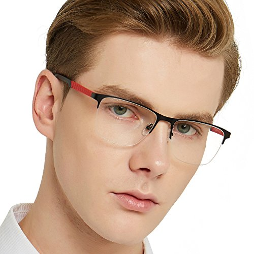 OCCI CHIARI Mens Semi-Rimless Casual Stylish Metal Eyewear Frame with Clear Lens 54-17-140 (Black-Red) by OCCI CHIARI
