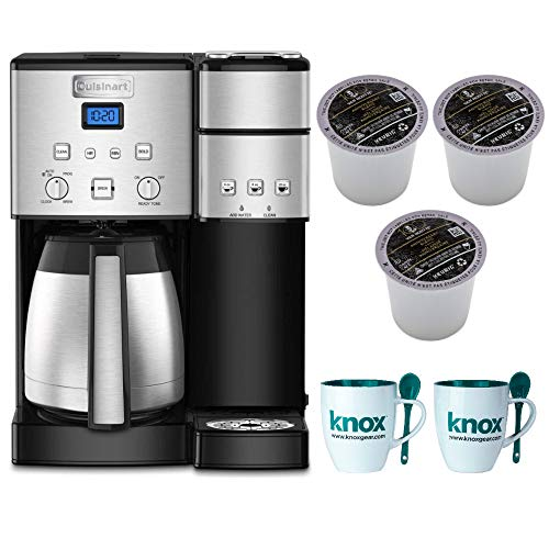 Cuisinart SS-20 Coffee Center 10-Cup Thermal Single-Serve Brewer Coffeemaker, Silver Includes 9 Van Houtte K-Cups and 2 Mugs Bundle