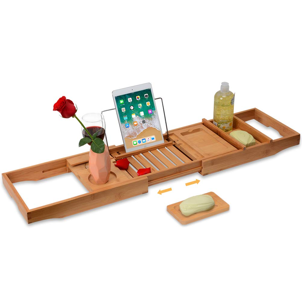 Domax Bathtub Caddy with Wine Glass Holder Adjustable Book Stand Extendable Non Slip Sides Bamboo Bath Tray