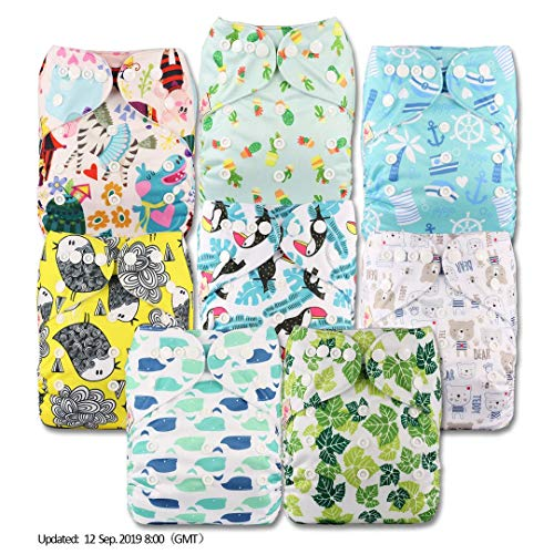 Patterns 801 Set of 8 with 8 Microfibre Inserts Reusable Pocket Cloth Nappy Fastener: Popper Littles /& Bloomz