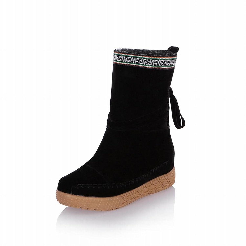 Latasa Women's Fashion Mid-calf Platform Snow Boots, Tassels Decoration
