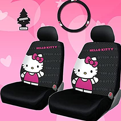 New Design 4 Pieces Hello Kitty Car Seat Cover With Steering Wheel And Air Freshener