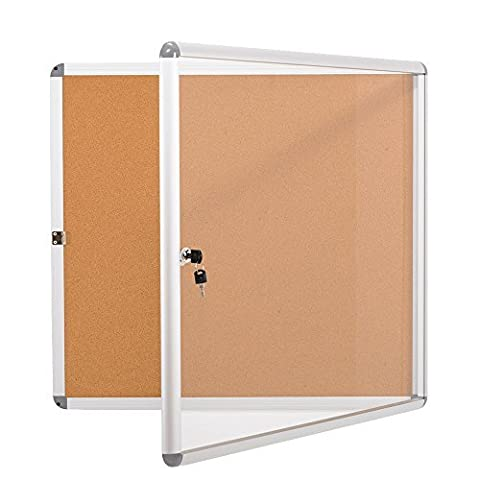 SwanSea Lockable Noticeboard Bulletin Pin Cork Boards Tamper proof with Mounting Screws 28×26 inch - Enclosed Cork Board