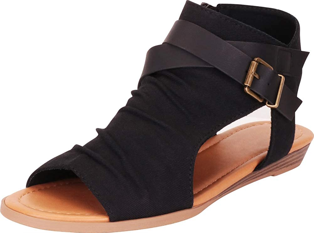 Black Cambridge Select Women's Crisscross Strappy Buckle Cutout Stacked Low Wedge Sandal