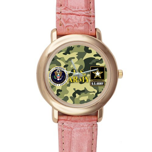 Gifts for girls or ladies Cool US Army Camouflage Pattern Pink Leather Alloy High-grade Watch
