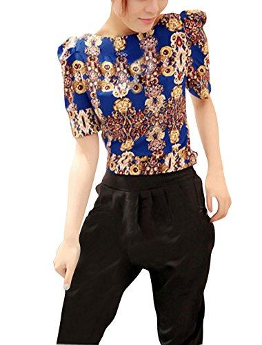 Traje de neopreno para mujer cuello de barco diseño de patrón de tela camiseta de manga corta Casual Yellow,Royal Blue
