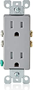 Leviton T5325-GY 15 Amp 125 Volt, Tamper Resistant, Decora Duplex Receptacle, Straight Blade, Grounding, Gray