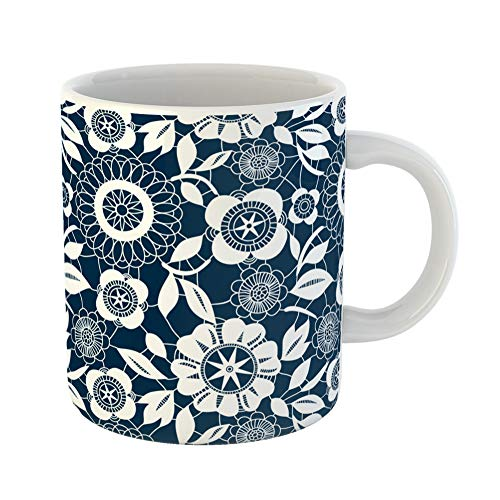 Emvency Coffee Tea Mug Gift 11 Ounces Funny Ceramic Navy Pattern White Lace Crochet Flowers Blue Floral Gifts For Family Friends Coworkers Boss -