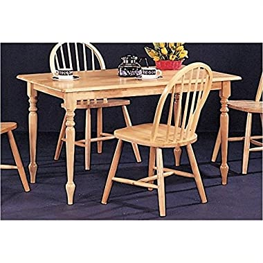 Coaster Rectangular Butcher Block Farm Dining Table,Solid  Natural Wood Finish