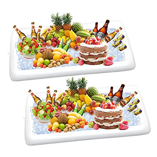 2 Packs Inflatable Pool Table Serving Bar - Large Buffet Tray Server With Drain Plug - Keep Your Salads & Beverages Ice Cold - For Parties Indoor & Outdoor use Bar Party Accessories (2PCS)