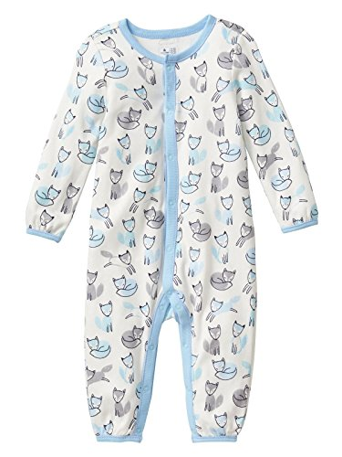 GAP Baby Boys Fox Print Snap 1 Piece Outfit Sleeper Footless White Blue 6-9 - Baby Piece Gap One