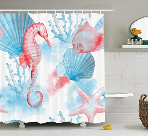 Ambesonne Nautical Decor Collection, Sea Shells Seahorse and Fish Sandy Beach Exotic Stylized Watercolor Effect Print, Polyester Fabric Bathroom Shower Curtain, 75 Inches Long, Coral Blue White