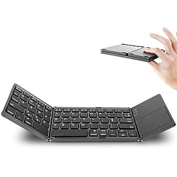 Teclado Plegable Bluetooth, Teclado inalámbrico de tamaño de Bolsillo, Mini Teclado Ultra Delgado Smartphone Recargable Clavier Negro: Amazon.es: ...
