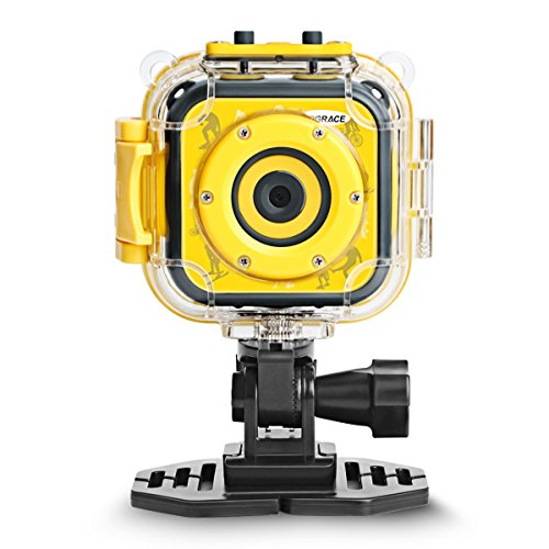 DROGRACE Children Kids Camera Waterproof Digital Video HD Action Camera 1080P Sports Camera Camcorder DV for Boys Girls Birthday Holiday Gift Learn Camera Toy 1.77 LCD Screen (Yellow)