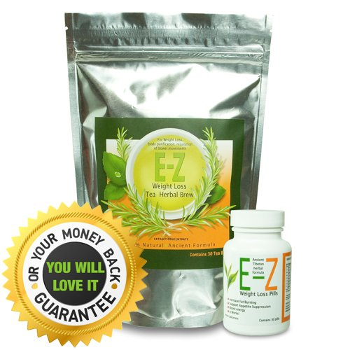 EZ Weight Loss Pills Diet + EZ Thé - puissant coupe-faim thermogénique et Supplément Fat Burner. 30 jours de perte de poids Combo (30 pilules amaigrissantes et 30 sachets de thé de régime)