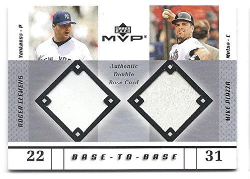 Cp Bases (MIKE PIAZZA ROGER CLEMENS 2003 Upper Deck MVP Base-to-Base #CP DUAL GAME-USED BASE Card New York Yankees Mets Baseball)