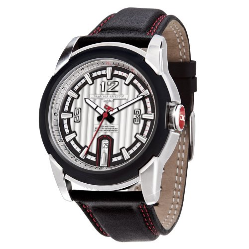 Jorg Gray JG9400-21 Round Watch with Black Calf Leather Strap with Red Contrast Stitching and Steel Buckle