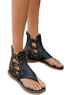 f7a462151c1 Womens Sandals Lace up Summer Flats Thong Flip Flop Pinch Sandals Fashion  Flat-Bottomed Roman