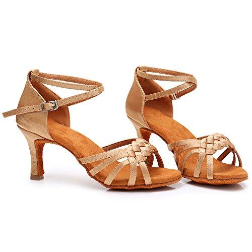 Baile latin tacón Modelo Beige Mujer Swdzm De lp218 ballroom Zapatos 7cm zxtw1YI