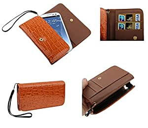 DFV mobile - Synthetic leather crocodile bag premium with card case for > BLACKVIEW omega, color naranja