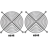 140mm Black Fan Grill Guard with screws 2 pack