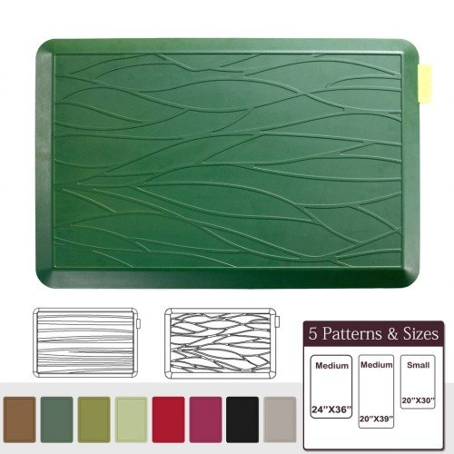 NUVA Anti Fatigue Standing Floor Mat 30 x 20 in, 100% PU Comfort Ergonomic Material Unlike PVC leather mats! 4 Non-slip PU Elastomer Strips on Bottom, 5 Safety Test by SGS (Grass Green, Wave Pattern)