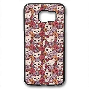 iCustomonline Flower Pattern Pastel Case for Samsung Galaxy S6 Edge PC Black