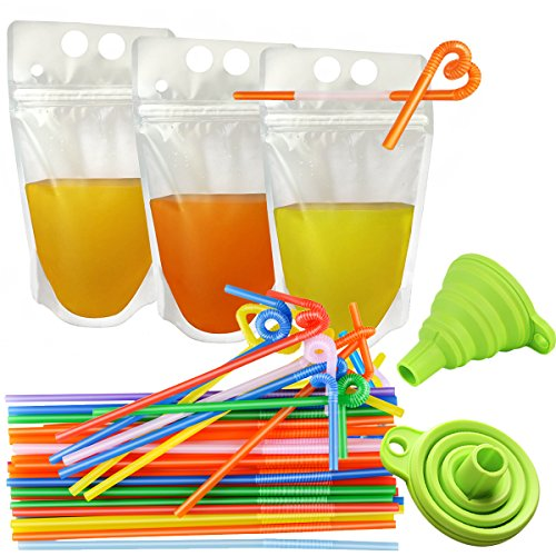 Special Offer 100 Pcs Drink Pouches CLTPY Non-Toxic Reclosable No-Leak Double Zipper 17 OZ Disposable Smoothies Bag Set with Gusset Bottom for Hot & Cold Drinks 100 Straws & 1 Funnel Included ()