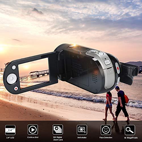 Price comparison product image Tuscom CMOS Sensor,  Up to 16 Million Pixels, 1080P 16 Million Pixels Handheld Digital Camera 16X Digital Zoom, Video Camcorder HD (Black)