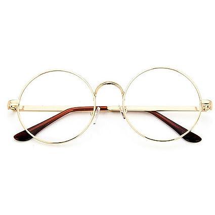 cc0cfcd180 TININNA Unisex Retro Round Metal Frame Clear Lens Glasses Eyeglasses  Vintage Geek Glasses (Light Gold)  Amazon.co.uk  Kitchen   Home