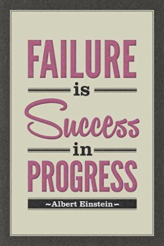 Albert Einstein Failure Is Success In Progress Motivational Inspirational Tan Poster