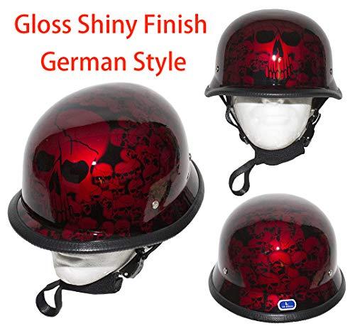 Dealer Leather Motorcycle Low Profile Skull Cap German Style Gloss Shiny Burgundy Skeletons Novelty Helmet W/Adjustable Chin Strap (M - (21.8