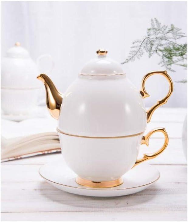 YYH Refinado Juego de té de Porcelana China Té de la Tarde Europeo Conjunto de Tetera y Taza de café de Oro Sencillo Creativo Individual Personas Oficina Hogar al Aire Libre (Color : Gold Edge)