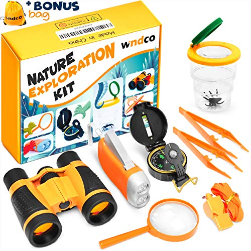 (Windco Outdoor Exploration Kit - 10Pieces Explorer Kids Outdoor Adventure Kit - Bug Catching kit for Kids Camping with Compass And Binoculars - Outdoor adventure set for boys and girls - Camping Toys)