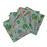 Roostery Drapery Organic Sateen Dinner Napkins Koi Pond Dance by Lauriekentdesigns Set of 4 Cotton Dinner Napkins Made
