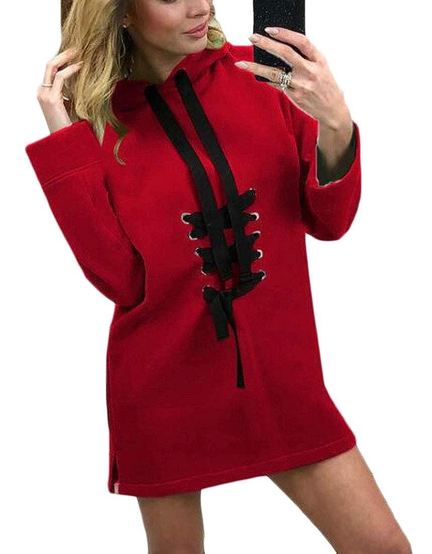 XiaoTianXinWomen XTX Womens Longline Loose Fit Hooded Long Sleeve Crosscriss Casual Pullover Hoodie Sweatshirt