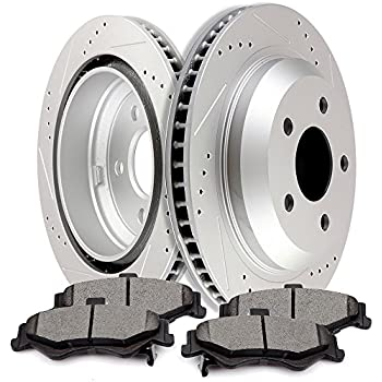 Ceramic Pads F1696 FRONT KIT Black Hart *DRILLED /& SLOTTED* Disc Brake Rotors