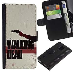 LASTONE PHONE CASE / Lujo Billetera de Cuero Caso del tirón Titular de la tarjeta Flip Carcasa Funda para Samsung Galaxy S5 V SM-G900 / The Walking Zombies